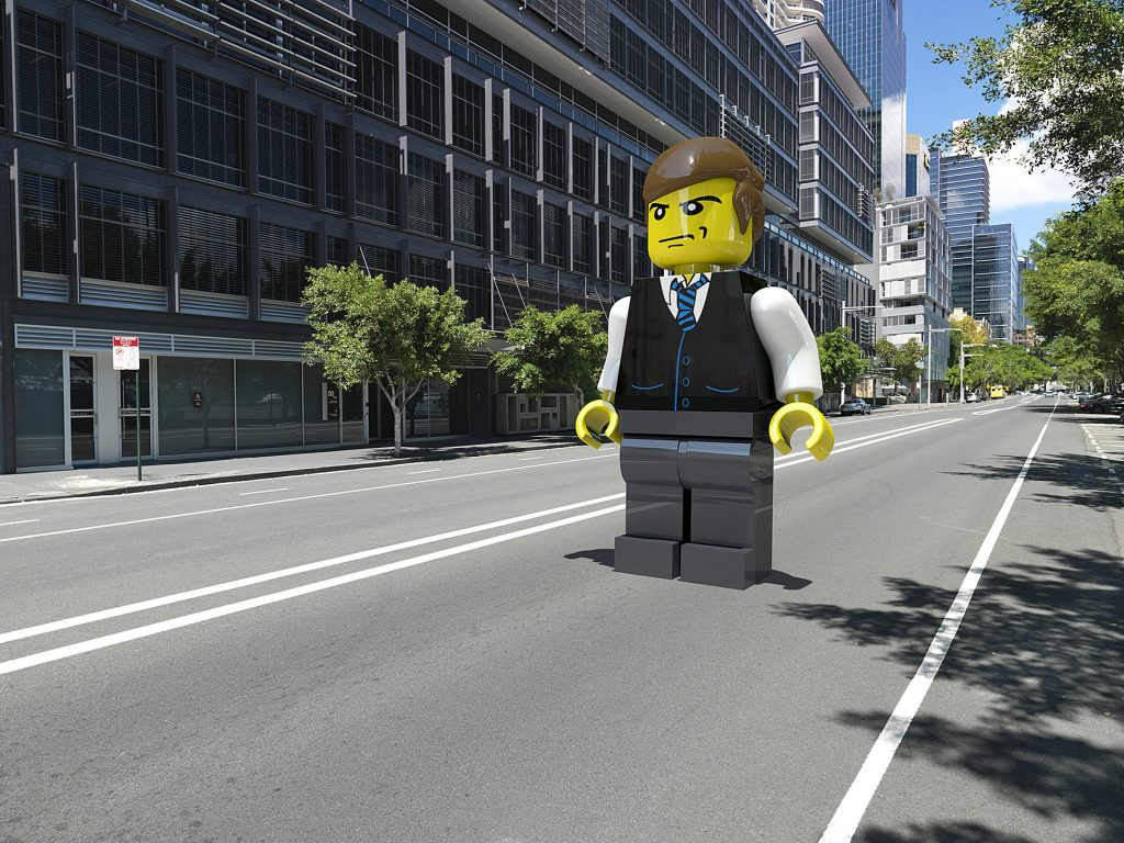 cgi legoman standing in the road