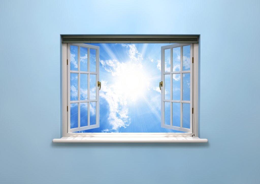 CGI of open window revealing blue sky and bright sun