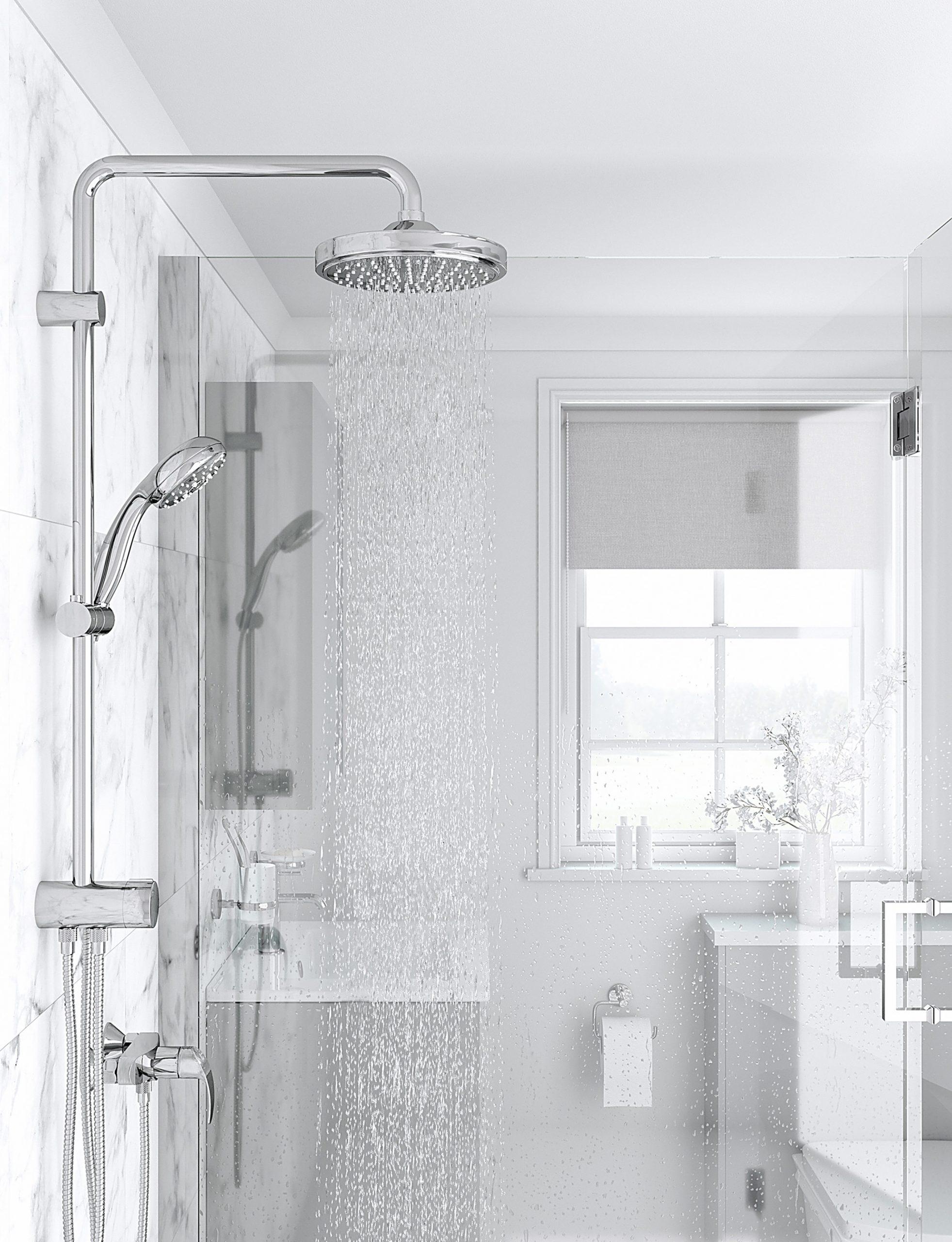 High key, CGI image of shower.