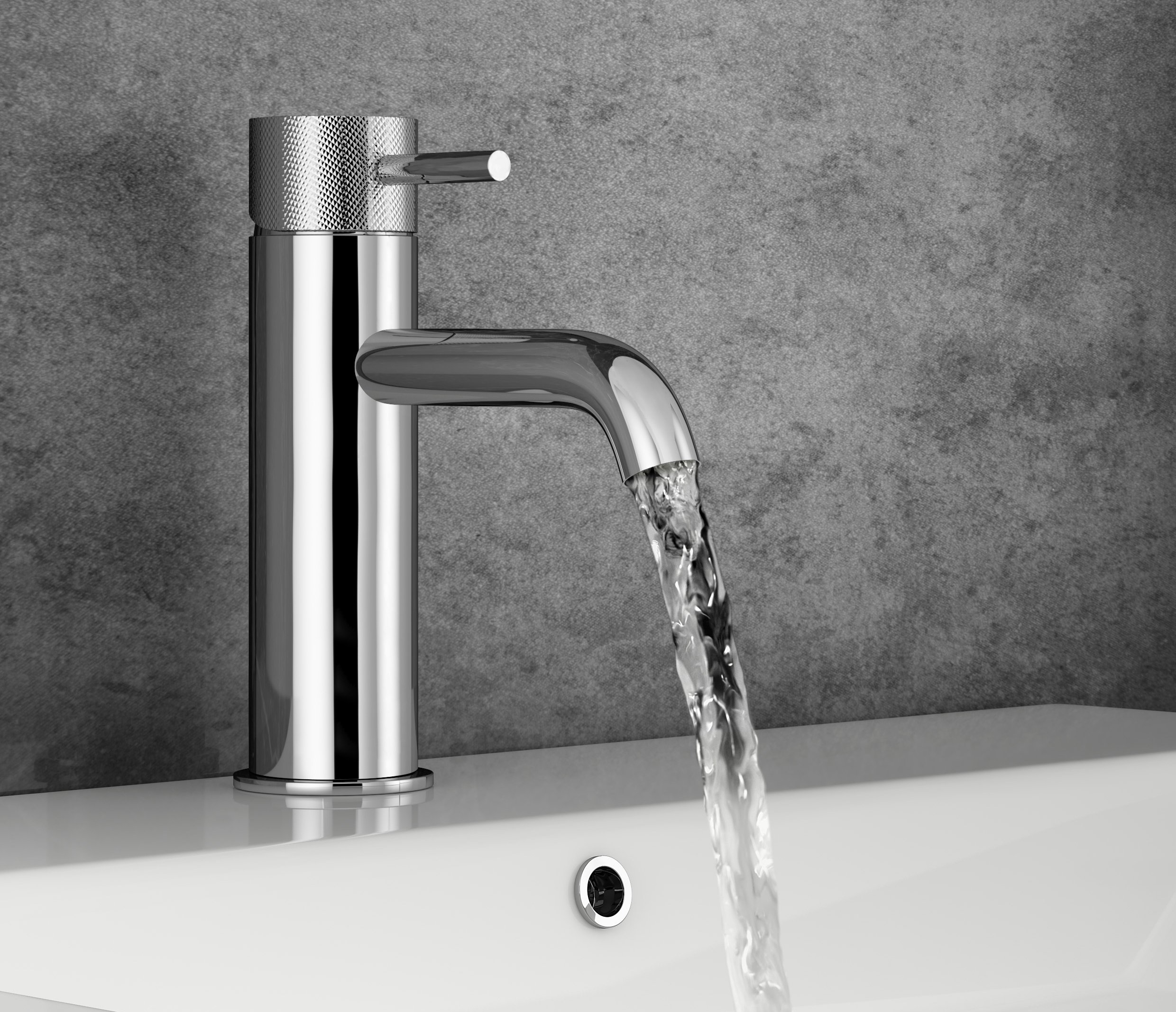 CGI of chrome tap and running water