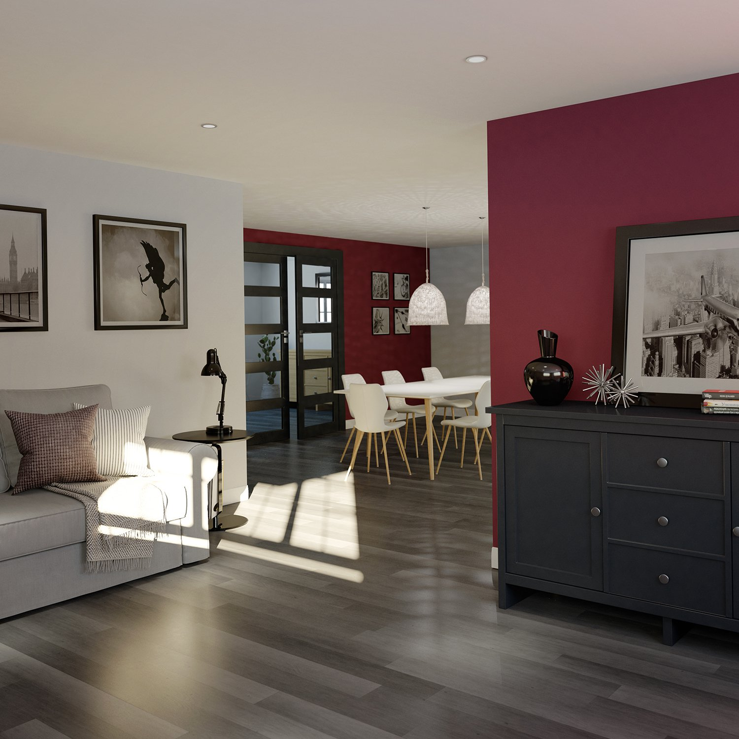 CGI room set of contemporary lounge with wine coloured wall