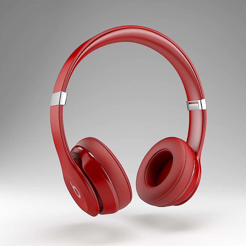 CGI product photograph of red Beats headphones