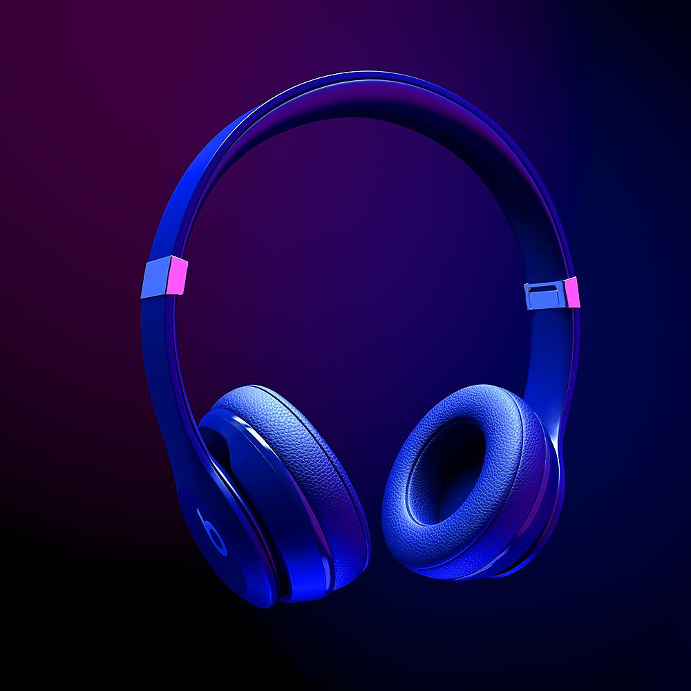 CGI product photograph of blue Beats headphones