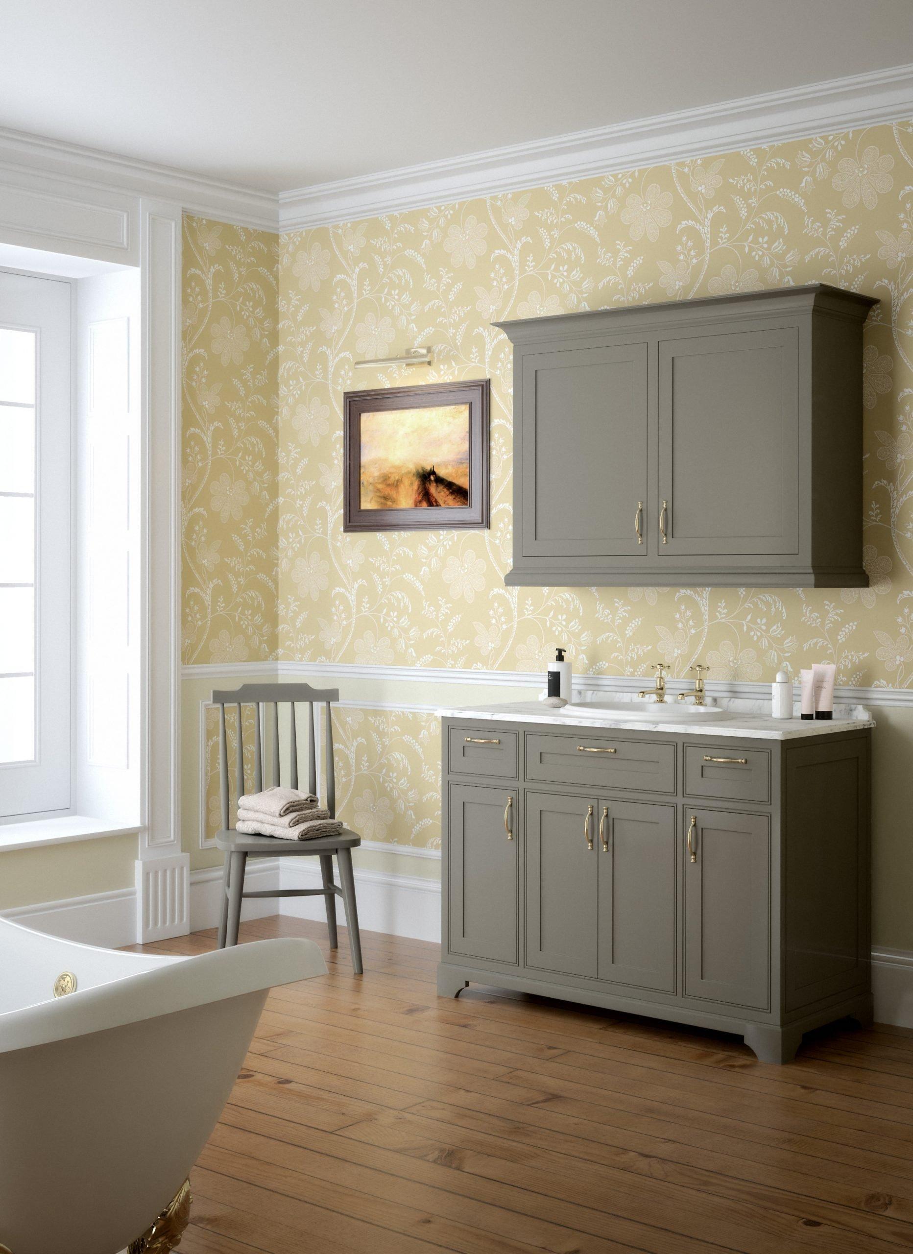 CGI image of period bathroom in yellow.