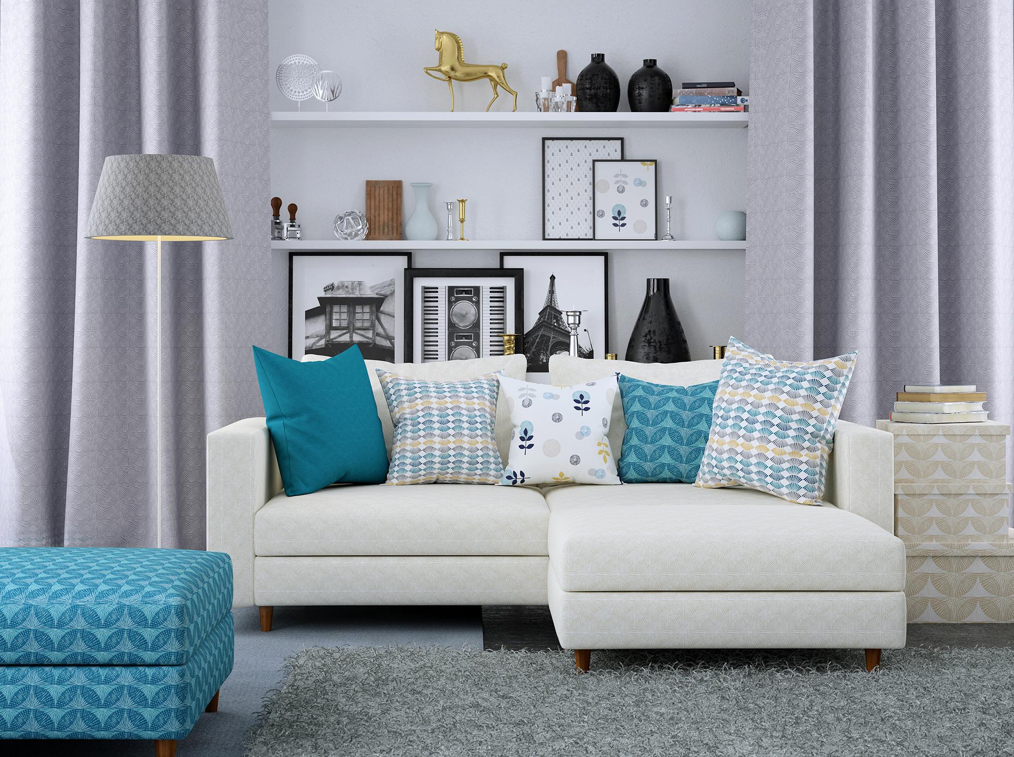 CGI room set of sofa and soft furnishings